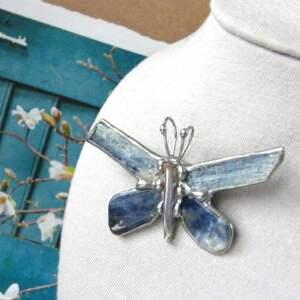 broszki broszka i wisiorek 2 w 1 motyl niebiański, z kamieni