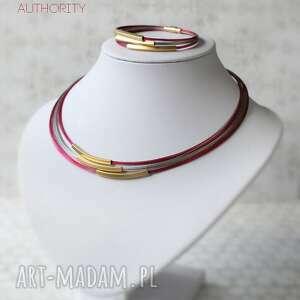Prezent Komplet Authority XL, złoty, malinowy, nowoczesny, elegancki, komplet