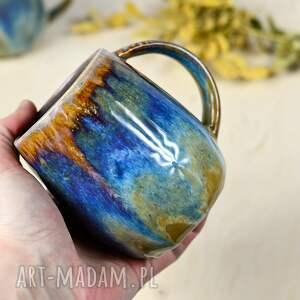 kubek duży kamionkowy - kolorowy opal brąz 350 ml -1 szt, ceramika