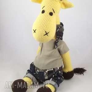 zabawki szydełkowa żyrafa, maskotka, rękodzieło, szydełkowa, włóczkowa