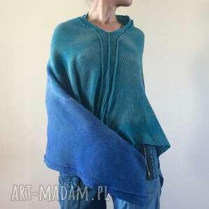 ponczo wełniane turkus niebieski, ponczo, narzutka, tunika, sweter, wełniana