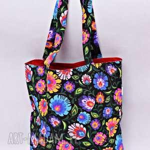 torba na zakupy shopperka czarny łowicz czerwona podszewka, torba, zakupy