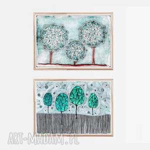 Zestaw 2 prac A2, drzewa, plakat, obrazek, zestaw, grafika
