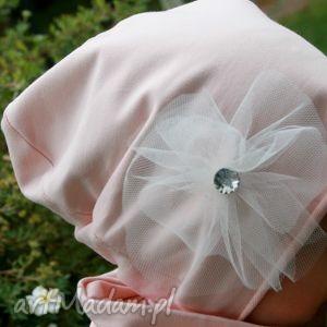 jesienna czapka z dzianiny tiulowym kwiatem, czapka, różowa, dziewczynka