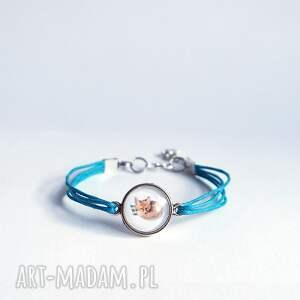 bransoletka - lisek niebieska, sznurki, bransoletka, grafika, lis