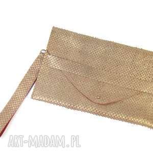 torebka skórzana kopertówka stare złoto i czerwień, kopertówka, złota