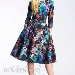 Sukienka ZUZA Midi Azalia, kwiaty, midi, zakładki, kieszenie, rozkloszowana, sukienka