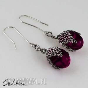 caltha fioletowe w siateczce - kolczyki, krople, wiszące, klipsy, szklane, jablonex