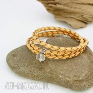 Bransoletka skórzana z kryształem górskim, bransoletka, skórzana, kryształ, górski