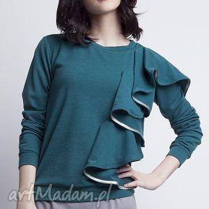 Bluzka z falbanką, BLU119 zielony, falbana, dzianina, miękka, efektowna, zielona