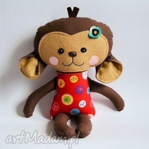 Wesoła małpka w czerwonej bluzce - rez p iwonam maskotki