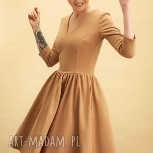 sukienki rozkloszowana sukienka brle, midi, dzianina, kobieta, bawełna