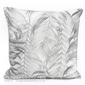 Poduszka Palm Leaves - GREY 40x40cm, poduszka-w-liście, szare-liście, jak-szkic,