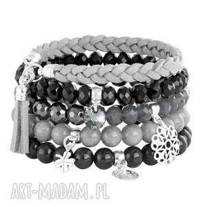 stone - black & grey - kryształki, koniczynka, kwiatek, hematyt