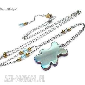 Miś /blue/ - naszyjnik, miś, długi, srebro, kamienie
