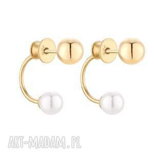 złote kolczyki z kulkami i perłami swarovski® crystal - pozłacane