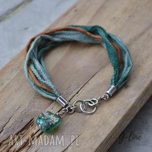 jedwab w kolorze zieleni i szkło antyczne srebrna bransoletka z zawieszką, srebro