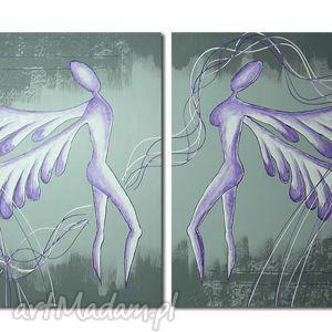 obraz XXL ANIOŁY SZCZĘŚCIA - A24 140x70cm duży na płótnie, obraz, xxl, anioły