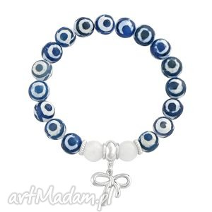 tibet agate - navy blue , agat, niebieski, biały, zawieszka, kokardka, tybetański