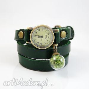ręcznie robione zegarki bransoletka, zegarek - mech ciemno zielony, skóra
