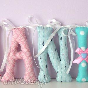 literki szyte imię hania ozdoba pokoju, literki, imię, dziecko, ozdoba, prezent