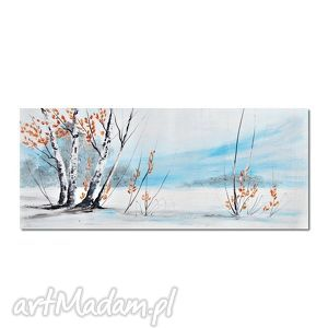 zimowy pejzaż, brzozy, nowoczesny obraz ręcznie malowany