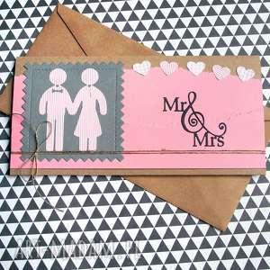 ręcznie zrobione kartki kartka - kopertówka:: ludziki:: pink