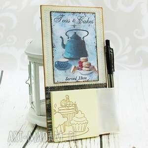 Notes na lodówkę- turkusowy czajniczek, kuchnia, magnes, retro, zapiśnik, lista