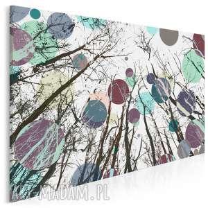 obraz na płótnie - koła drzewa kolory 120x80 cm (24201)
