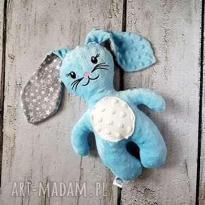 ręcznie zrobione maskotki błękitny królik - maskotka przytulanka