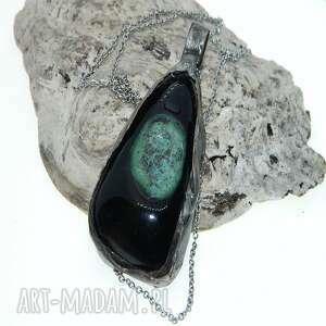 zielony wisior-n71, wisior, metaloplastyka, unikatowa biżuteria, unikalny wisior
