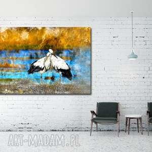 obraz xxl bociany 3 - 120x70cm na płótnie ptaki, obraz, płótnie, bocian, ptaki