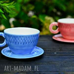 porcelanowa filiżanka w kolorze niebiesko zielonym, do herbaty