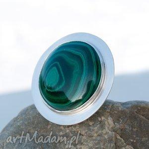 a537 malachitowa tarcza pierścionek srebrny, pierścionki, srebro, malachit