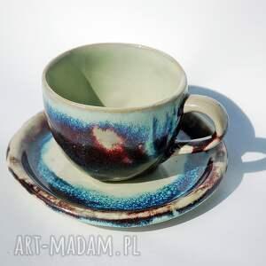 kubek gauguin z talerzykiem, kawa, herbata, zestaw, duży, wyjątkowy