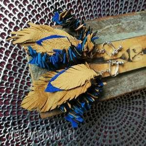 klipsy długie skóra liście etno boho, klipsy, skóra, etno, długie, liście