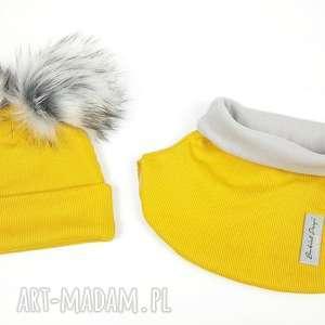 Komplet zimowy - czapka z pomponem golfik podszyty polarem, kolor: MUSZTARDOWY/ZÓŁTY