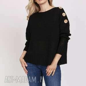 sweter z guzikami - swe218 czarny mkm, do pracy, szkoły, sweter, guziki