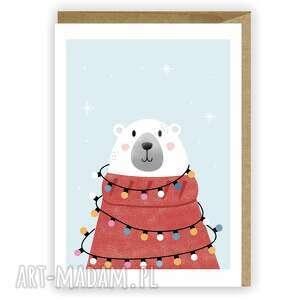 kartka bożonarodzeniowa - miś polarny cardie, świąteczna, boże