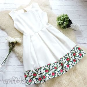 Biała sukienka kontrafałdy tradycyjny wzór góralski, sukienka, folkowa, folk