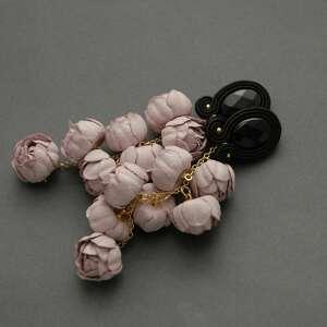 kolczyki sutasz z kwiatami, sznurek, wyjściowe, długie, eleganckie, wiszące