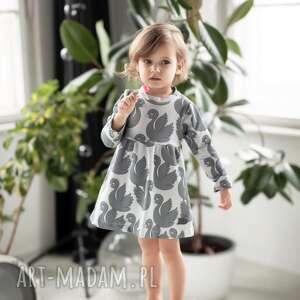 animals by libou sukienka szare łabędzie, dla dziewczynki, szara