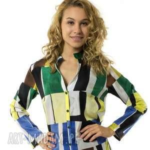 Koszula jedwabna Colleto Acquerelli, geometria, jedwabna, motyw, dekolt, damska