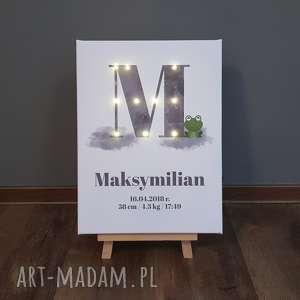 świecąca metryczka imię obraz led prezent personalizowany urodziny roczek akwarela