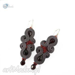 Szaro-czerwone kolczyki sutasz - ,kolczyki,sutasz,soutache,rubinowy,casual,