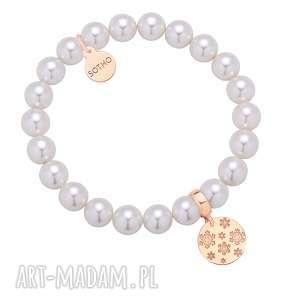 Prezent Biała bransoletka z pereł SWAROVSKI® CRYSTAL ze śnieżynkami różowego złota
