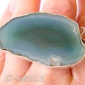 pierścionek zielony agat z kokardą, agat, srebro, regulowany, duży