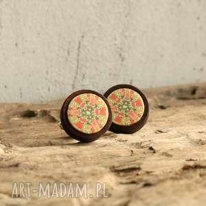 Prezent Mandala, drewniane spinki do mankietów , spinki, drewniane, drewno, mandala