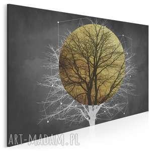 obraz na płótnie - drzewo słońce złoto noc 120x80 cm 96201, drzewo, art deco