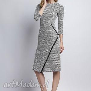sukienka, suk116 kostka - kostka, komunia, deseń, czarnobiała, kotrast